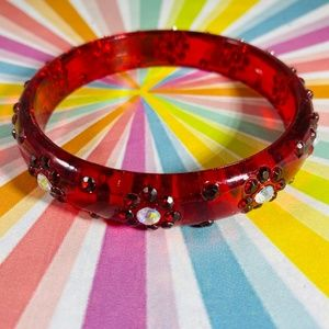 Bright Red Plastic Rhinestone Bangle Bracelet